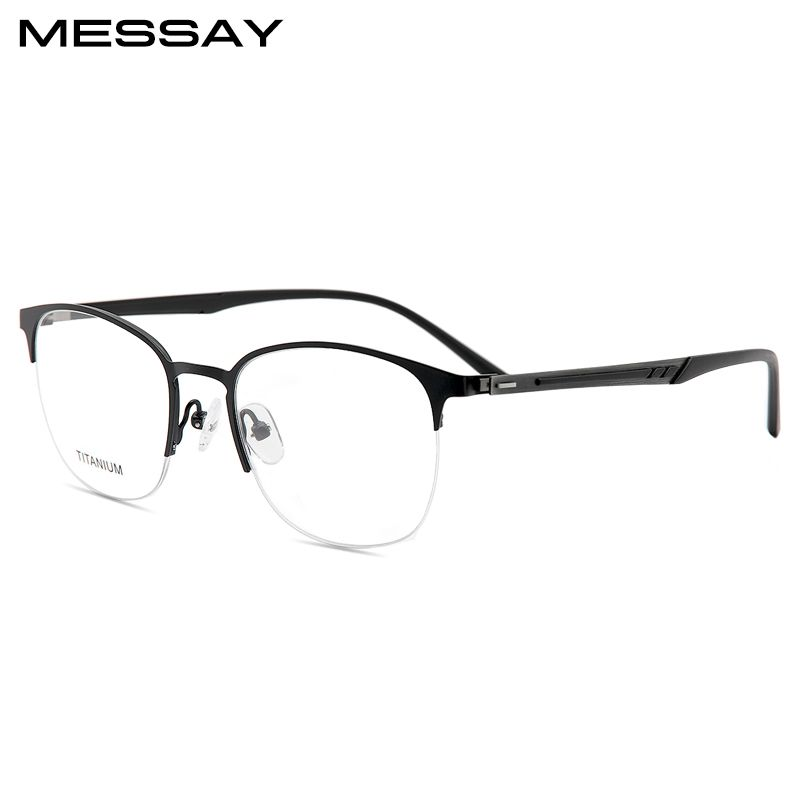 Retro Round Titanium Half Frame Glasses Men Vintage Eyeglasses ...