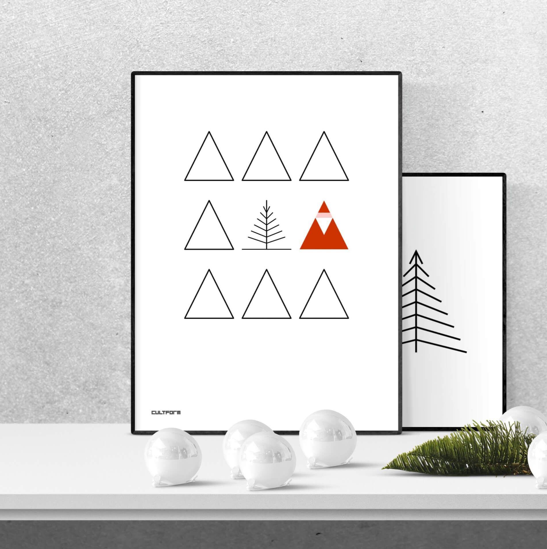 Weihnachtsgrafik Santa Im Dreieckswald Download Grafik Weihnachtsdeko Diy Weihnachtsdeko