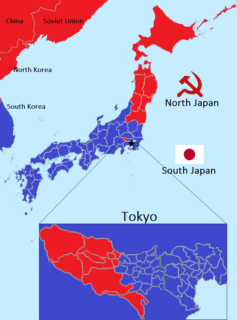 A Map of Post WWII Japan had Operation Downfall occured | maps