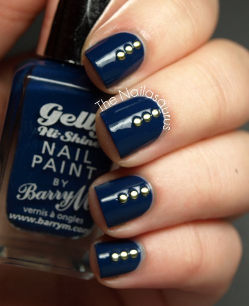 The Nailasaurus: Barry M Blue Plum with Studs
