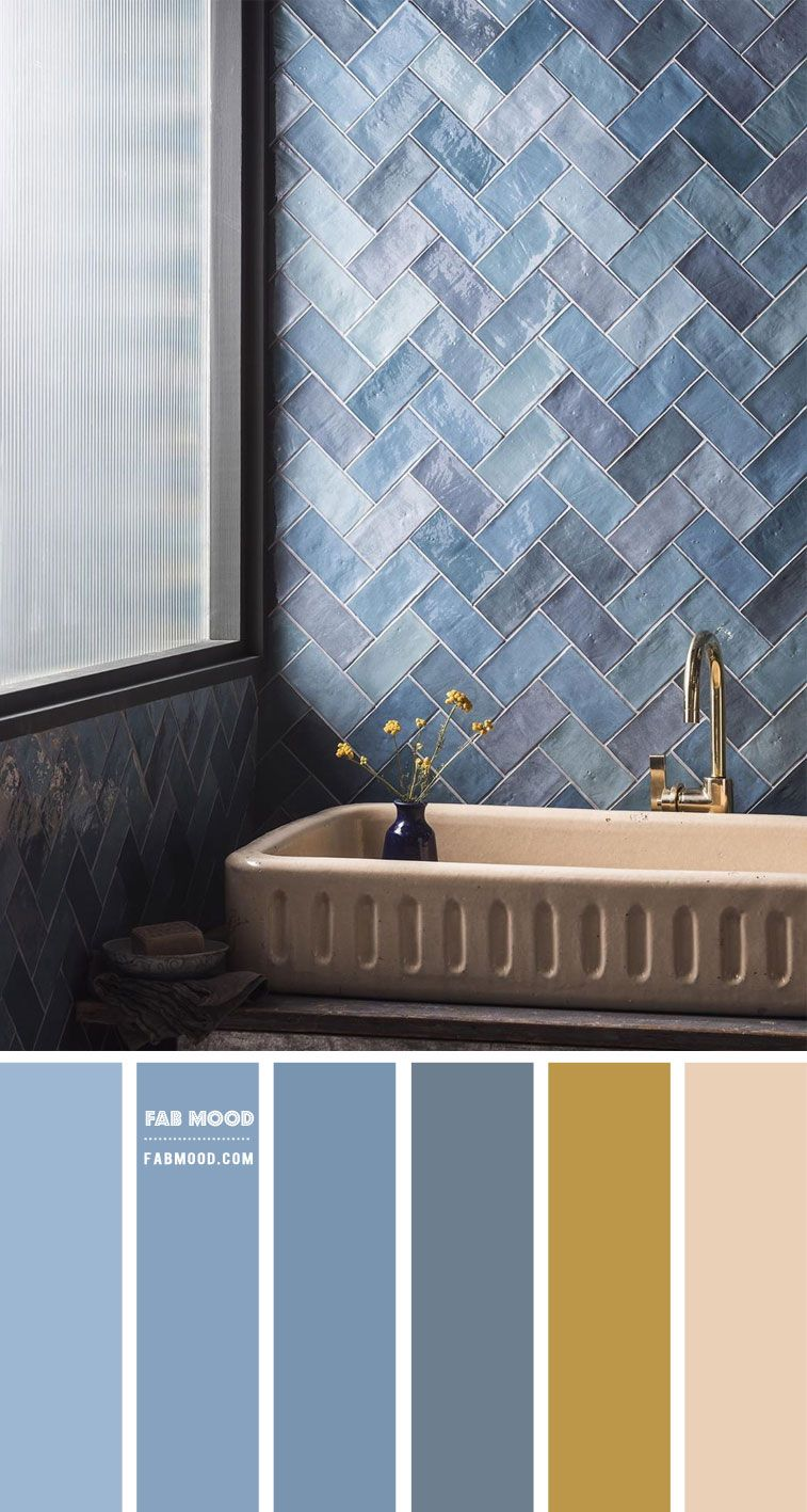 Blue Grey And Warm Taupe Color Scheme For Bathroom In 2020 Bathroom Color Schemes Grey Blue Bathroom Bathroom Decor