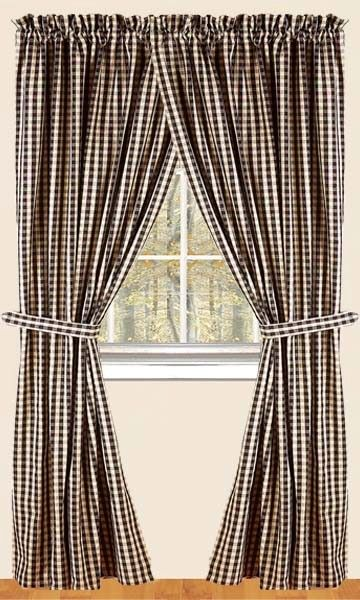Heritage House Check Black Lined Curtain Panel 72 X 63
