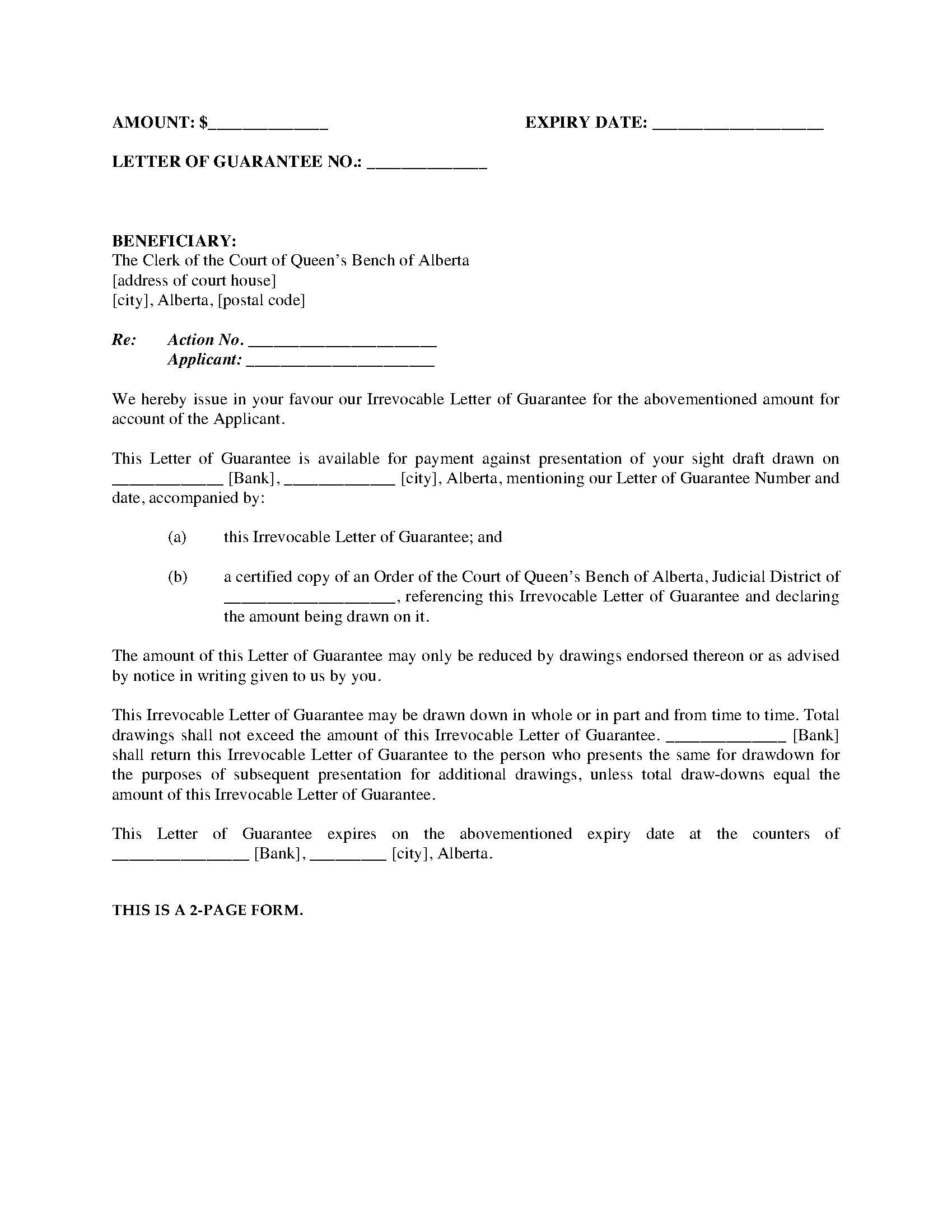 Alberta Irrevocable Letter Of Guarantee Legal Forms And Business