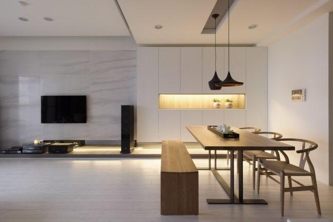 Wohnbereich Minimalismus Holz Esstisch Sitzbank Einbauleuchten