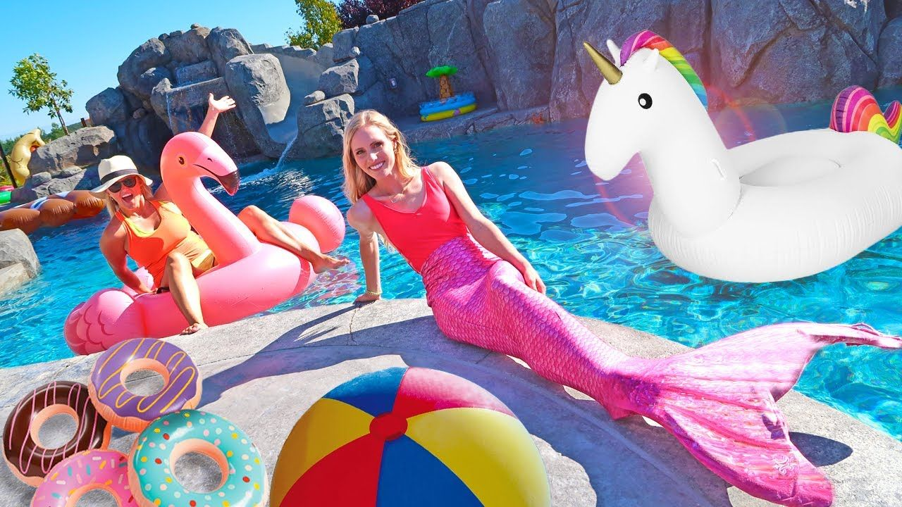 GIANT UNICORN FLOATIES AND GAMES POOL PARTY!! DailyBumps Pool