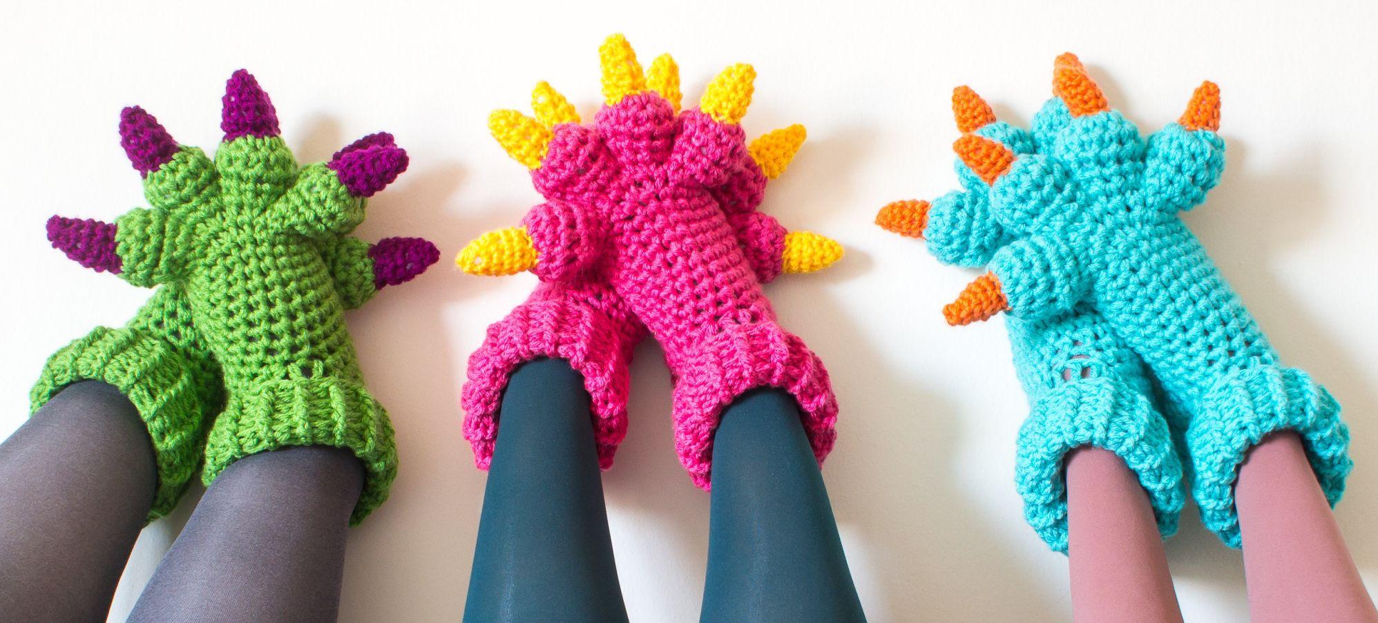 Monster Slippers Crochet Pattern Crocheted Croch Ganchillo