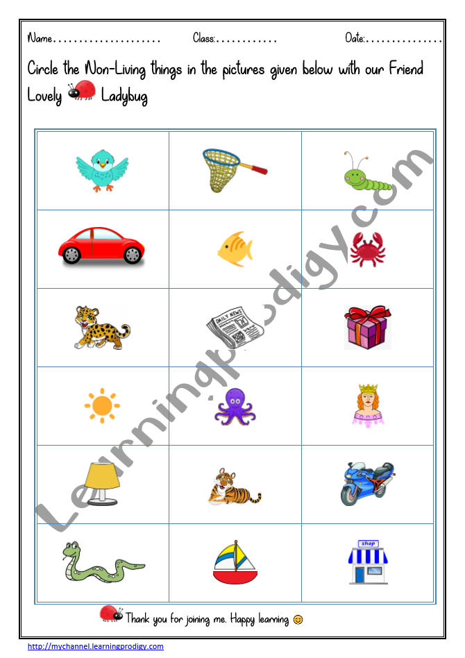 Science Worksheet for Grade 1 Nonliving worksheet for