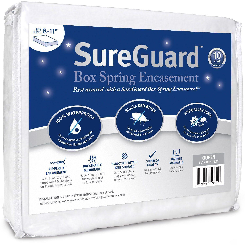 "SureGuard QUEEN Size Box Spring Encasement (811"" depth"