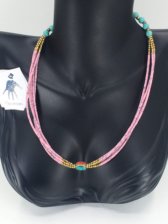 Multi Strand Tibetan Necklace - Pink