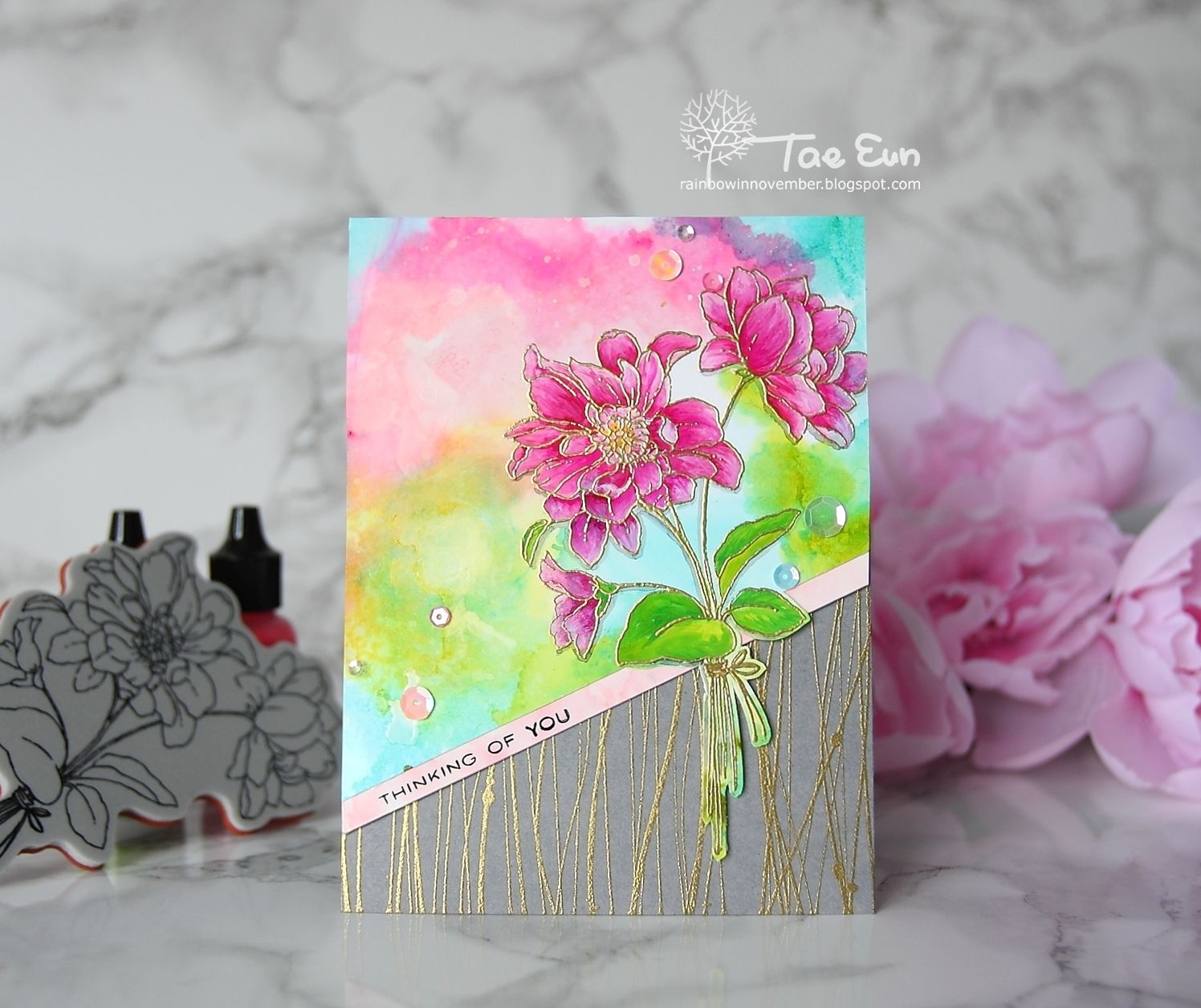 Pink u gold full of glee card by taeeun for the foiled fox cards