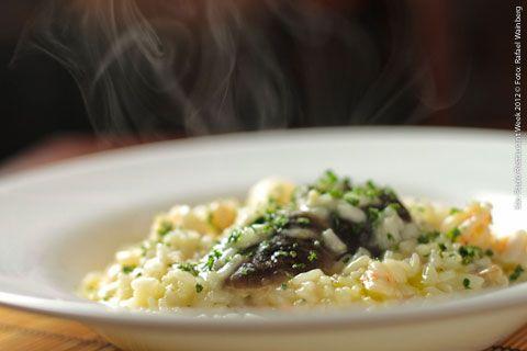 La Piadina Cucina Italiana (jantar)    Risotto al ragù de camarões con crema ai funghi e tartufo  Risoto de camarões graúdos em pedaços com creme de Funghi e trufas