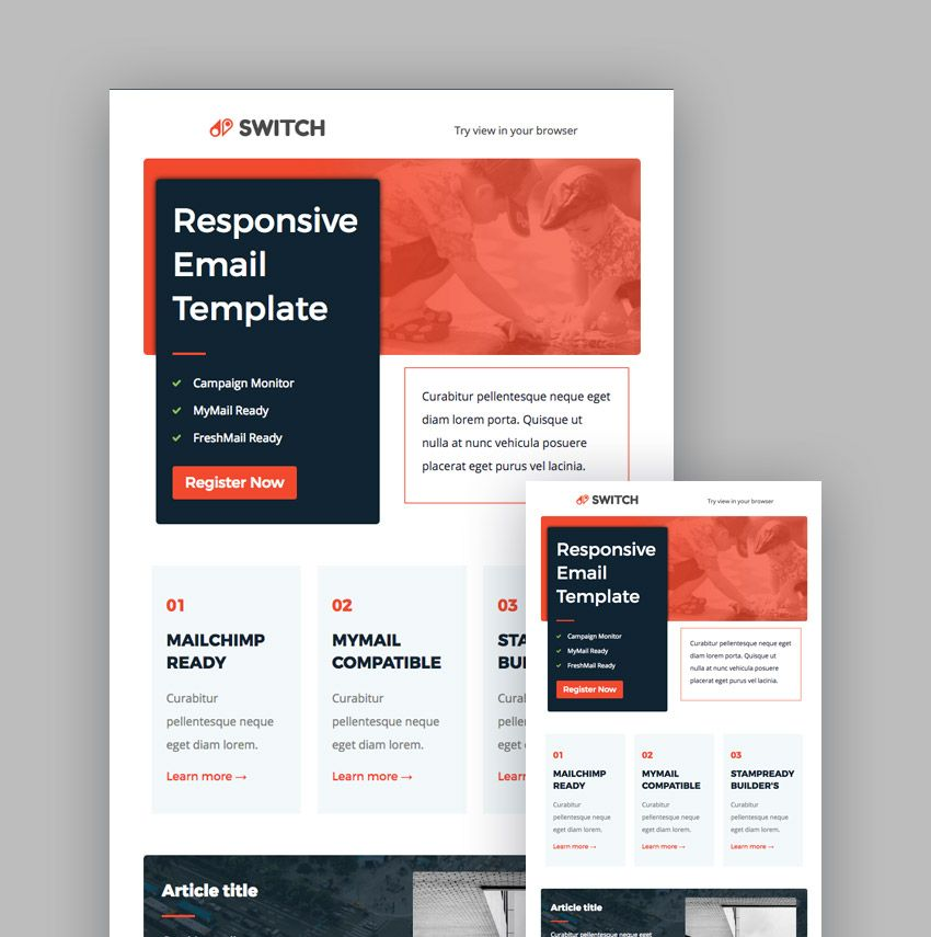 Switch MailChimp Newsletter Template Email newsletter