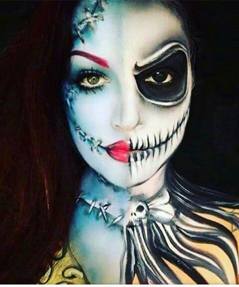Jack Sally Split Face Costume Makeup Creepy Halloween Makeup