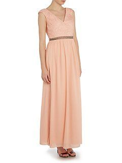 Cap Sleeve V Neck Maxi Dress