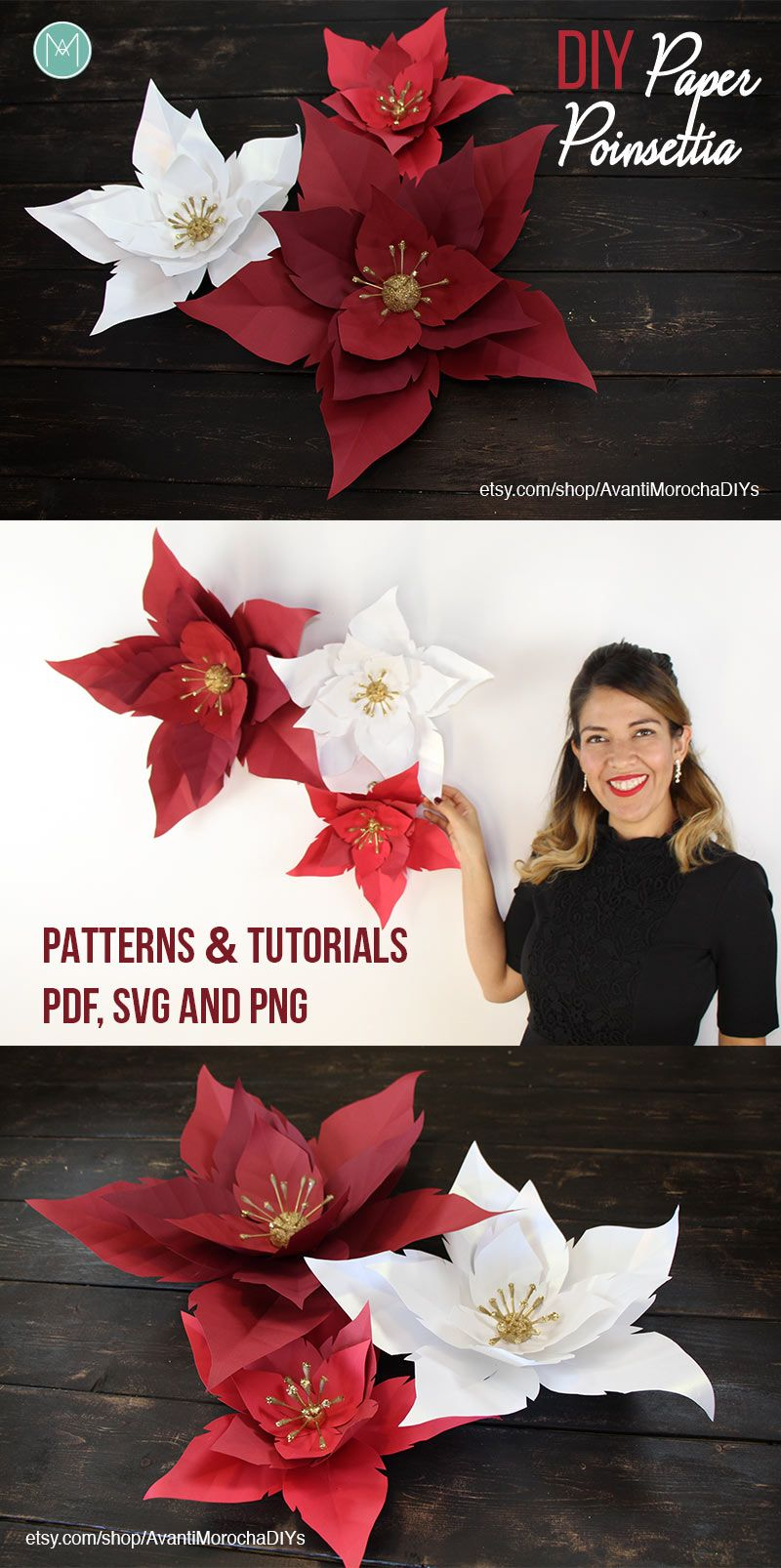 Diy Paper Poinsettia Christmas Holiday Decor Paper Flowers