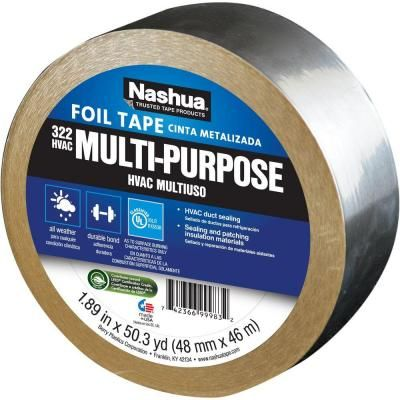 Nashua Tape 1 89 In X 50 Yd 322 Multi Purpose Hvac Foil Tape