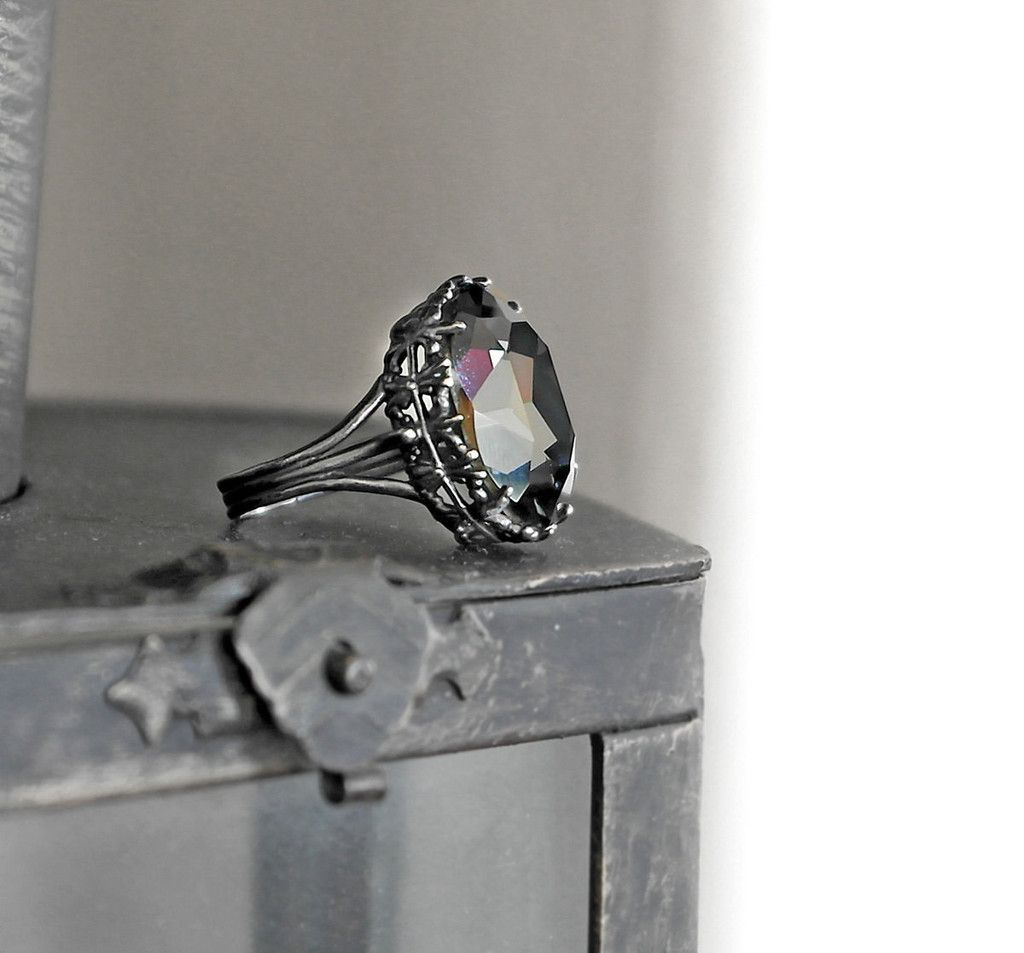 Gothic Engagement Ring With Gray Swarovski Crystal