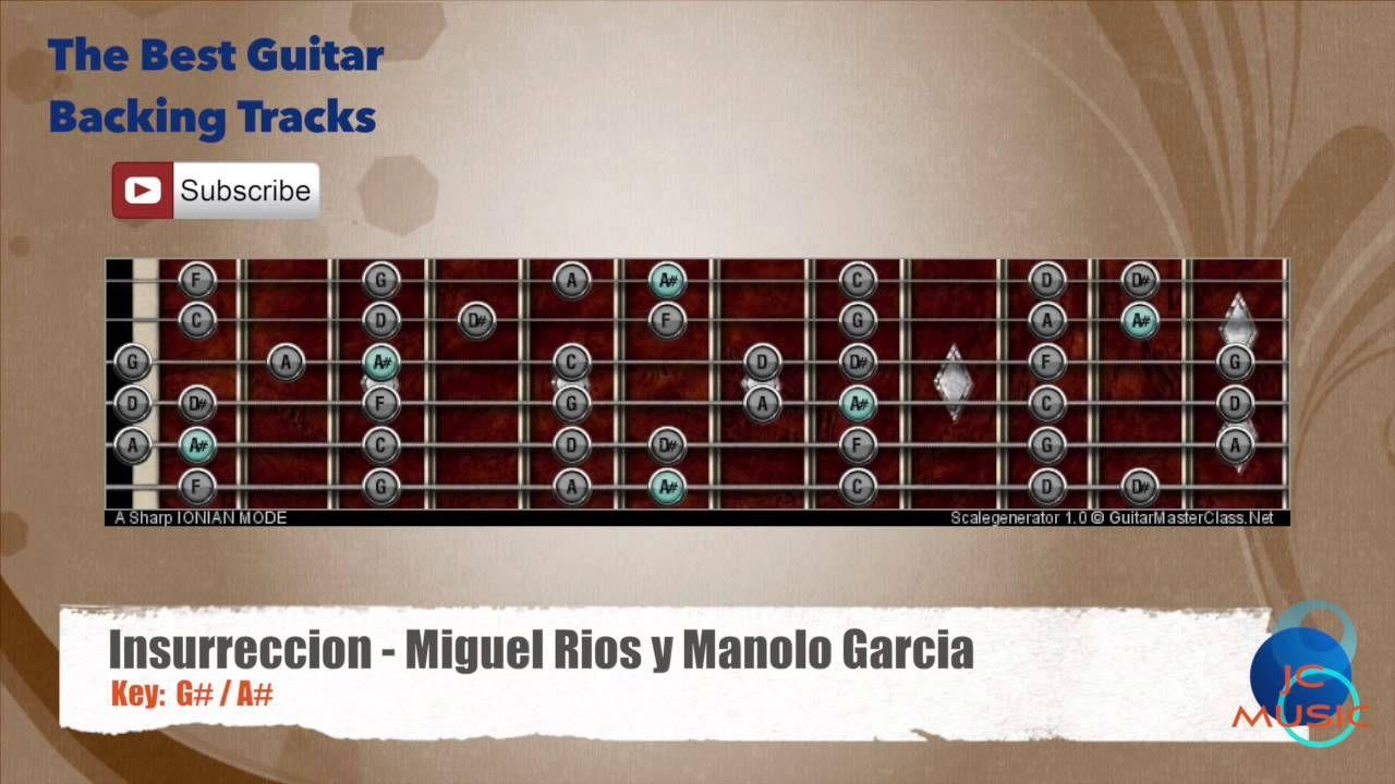 Insurreccion Miguel Rios Y Manolo Garcia Guitar Backing Track With Scale Chart Loquillo Y Los Trogloditas Jarabe De Palo Lado Oscuro