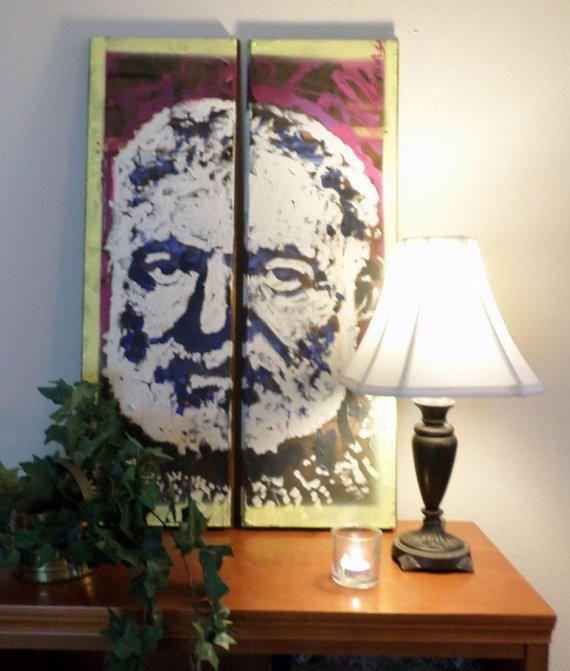 Hemingway on Reclaimed Wood Boards by artist Matt Pecson
