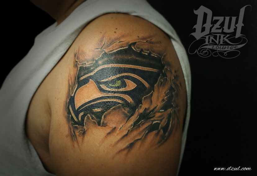 12th Man Pride Sick Anatomical Tattoo With The Seahawks Logo