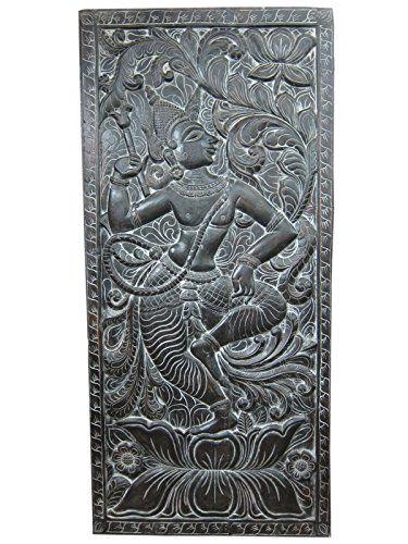 "Decorative Door Panel Dancing Krishna Hand Carved Wall Panels India 72"" X 36"" Mogul Interior http://www.amazon.com/dp/B00PABGK4O/ref=cm_sw_r_pi_dp_vDNxub14GHCJ3"