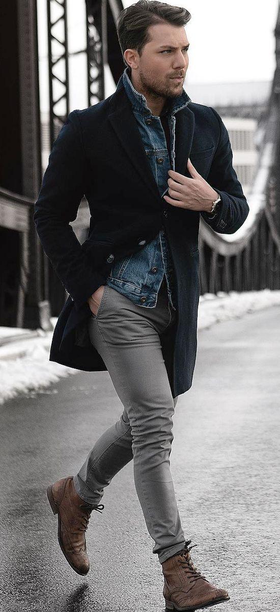 Pin By Erena Pereira On Denim Pants Winter Outfits Men Mens Winter Fashion Mens Fashion Casual Winter