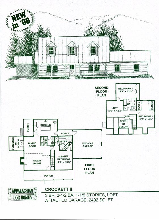 Crockett Ii 3 Bed 2 5 Bath 1 5 Stories 2492 Sq Ft Appalachian Log Timber Home Farmhouse Style House Plans Log Cabin Floor Plans Farmhouse Floor Plans
