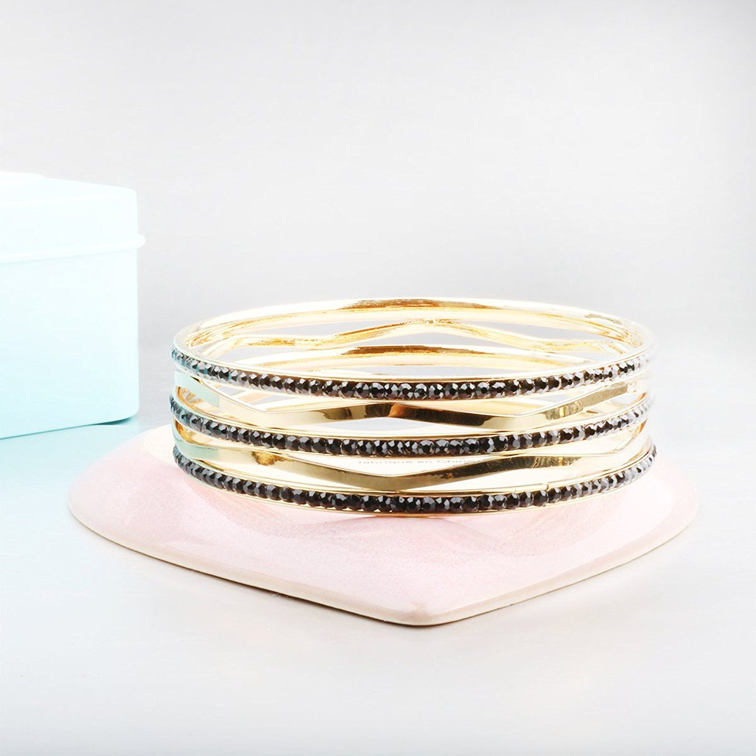 Carfeny stainless steel jewelry wide gold with many crystal bangle