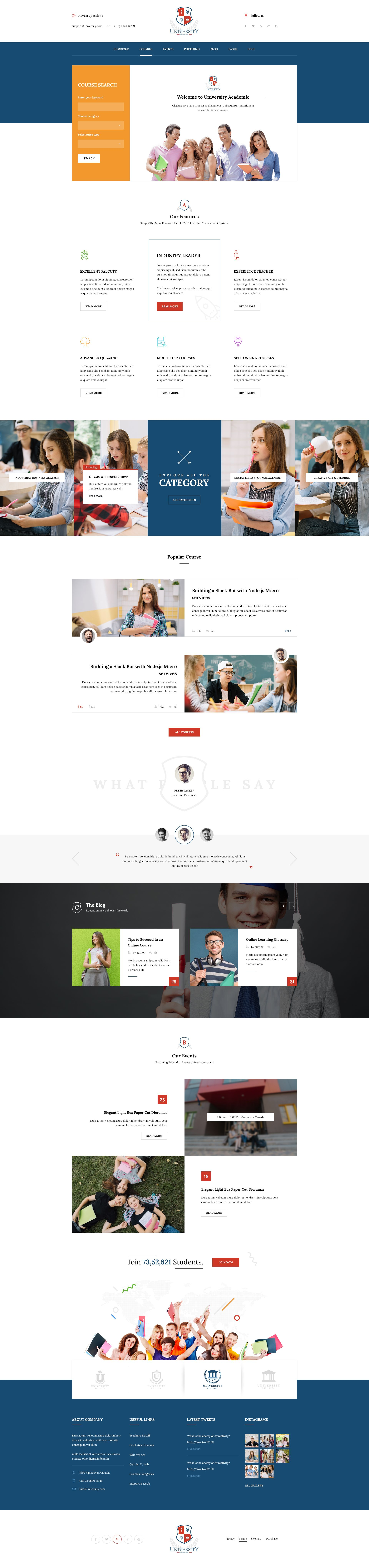 University Education Course Academy Psd Templates Web Layout Design Flat Web Design Grants For College