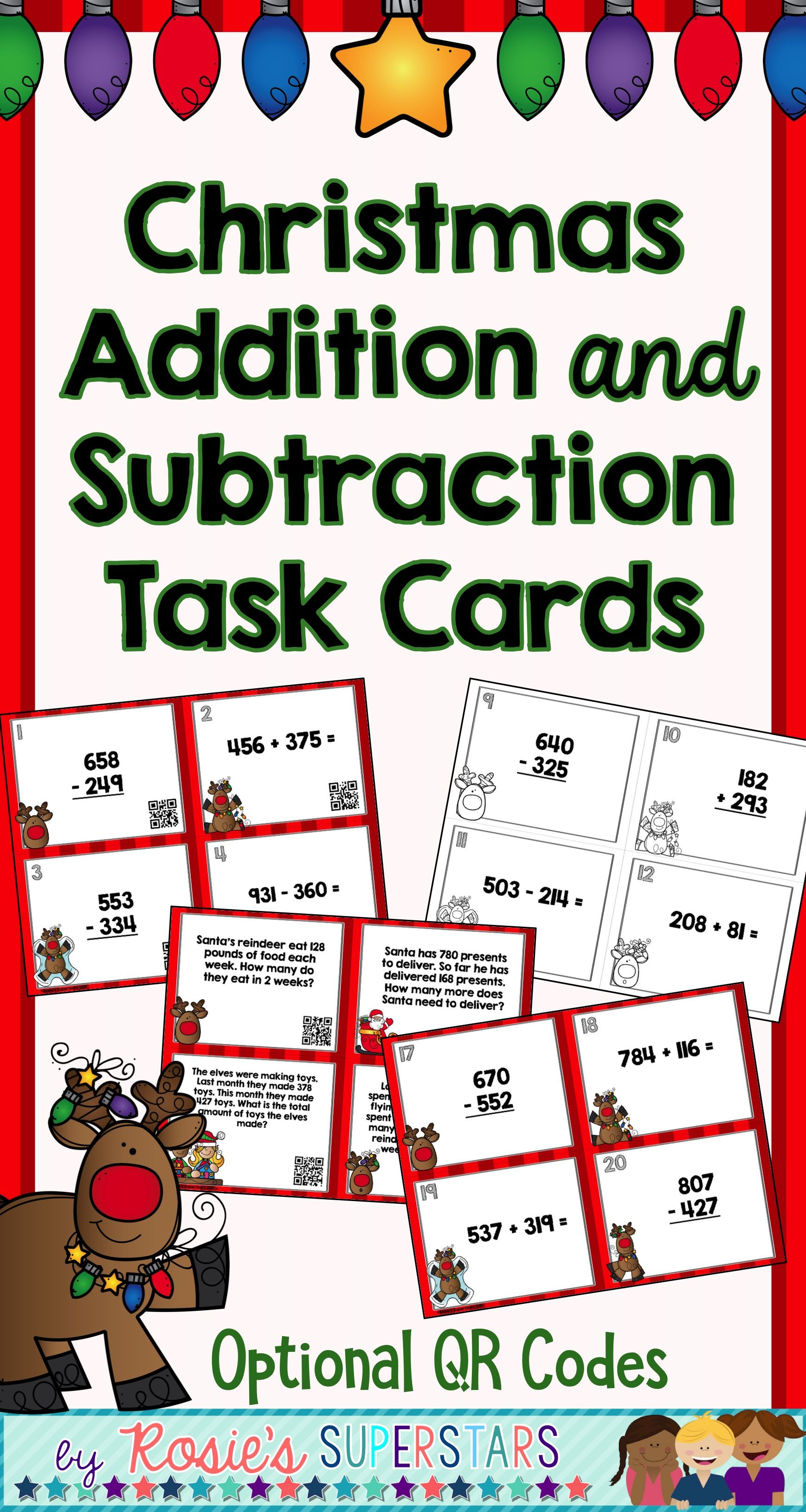 Christmas Three Digit Addition And Subtraction With