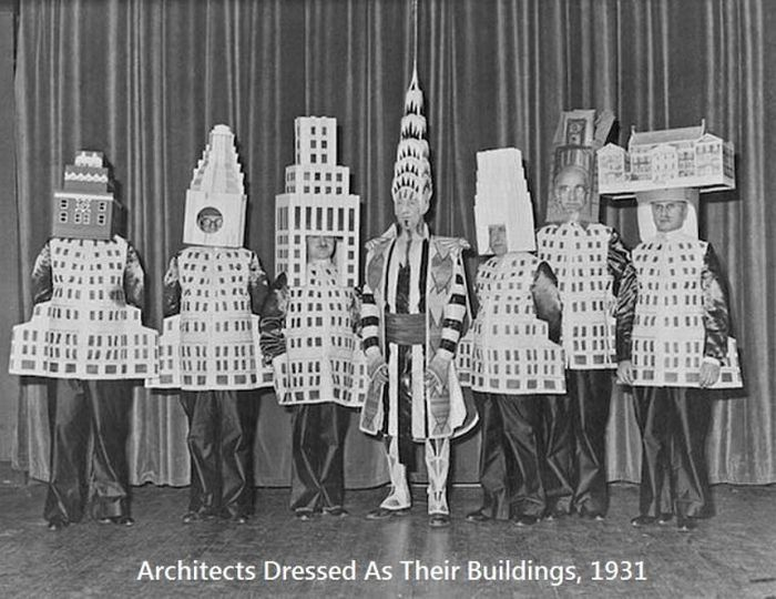 OLDE BUSINESS FUN - 1931 - STRANGE PICTURE OF WORLDS MOST IMPORTANT  ARCHITECTS DRESSED UP AS