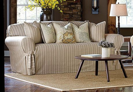Sure Fit Slipcovers Grain Sack Stripe One Piece Slipcovers
