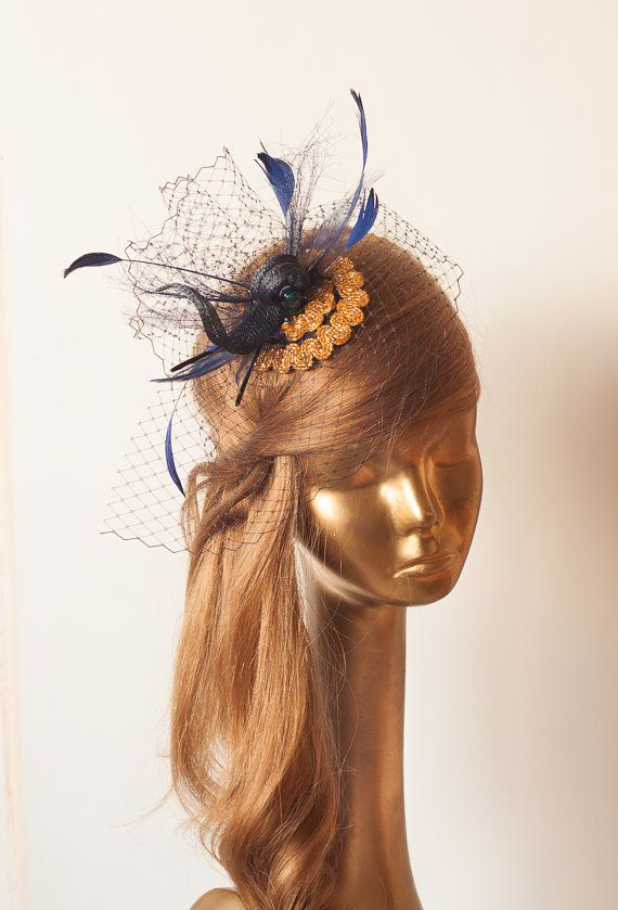 b079e31734 Unique Navy Blue FASCINATOR with Gold Beads and FEATHERS by ancoraboutique