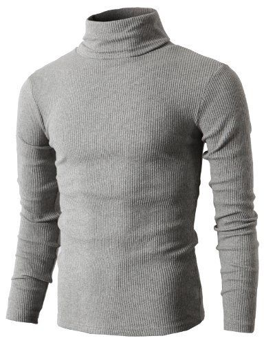 Wan-T Men Long Sleeve Turtleneck Casual Knitwear Pullover Sweater