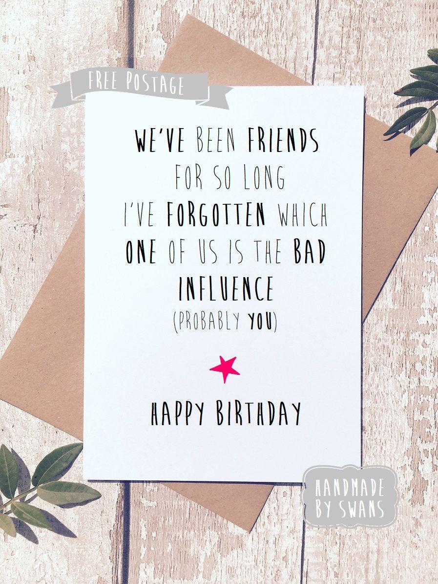 Funny Birthday Card Birthday Card Friend Greeting Card Birthday