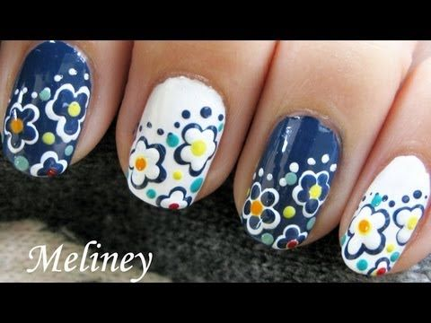 Freehand day night flower nails simple easy spring nail design spring nails easy day night flower nail art design tutorial cute simple for short nails diy prinsesfo Choice Image