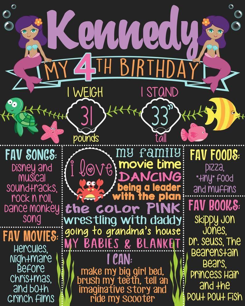 mermaid Birthday DIGITAL FILE Girl birthday 16x20 18x24 20x30 Personalized Mermaid Birthday Printable Chalkboard 1st Birthday