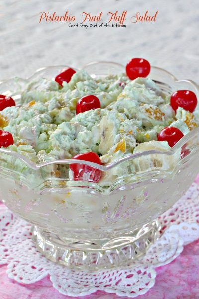 pistachio fruit fluff salad  can't stay out of the