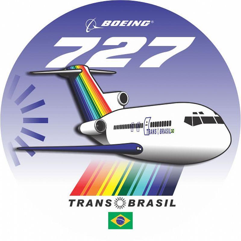ad3b25c9247f0 Adesivo Boeing 727 Transbrasil - Bianch Pilot Shop - A maior loja de  produtos para aviação do Brasil