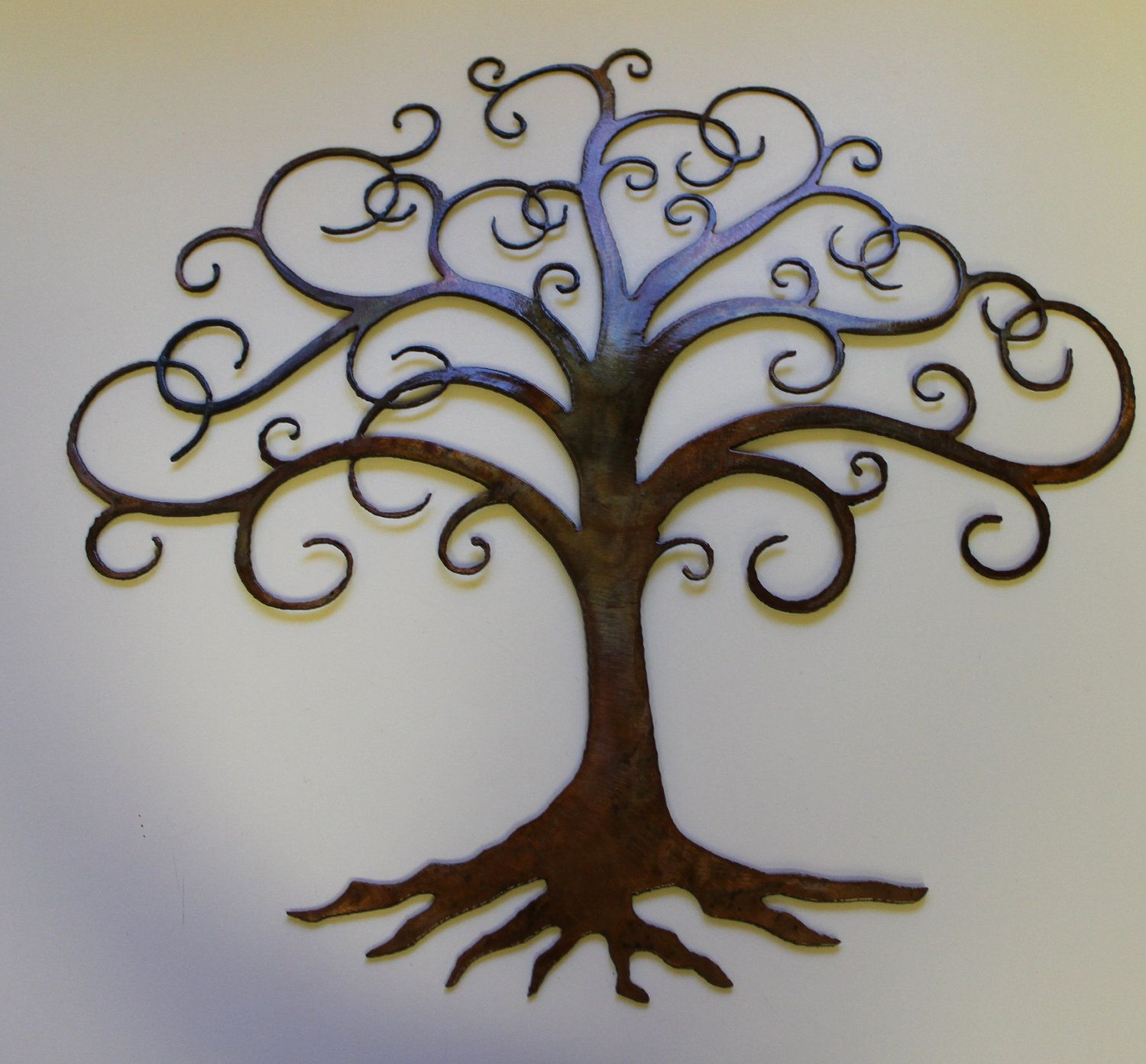 Tree of life swirled tree of life metal wall art decor for Tree wall art