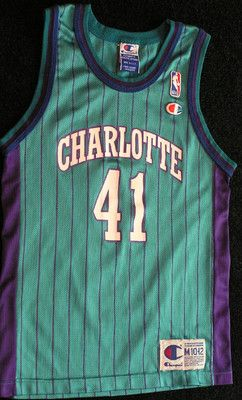 585a6ba6343 Charlotte Hornets Vintage Glen Rice Champion Jersey Youth Med 10 12 Free  SHIP