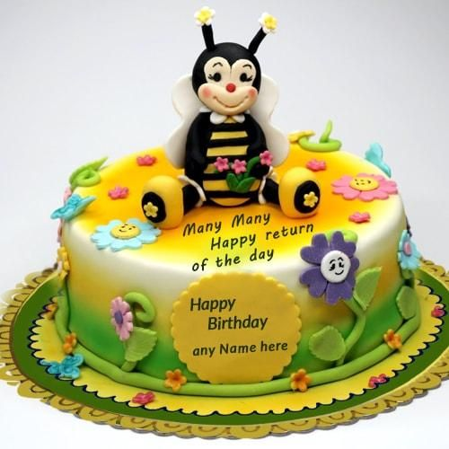 cartoon birthday cake for kids with name