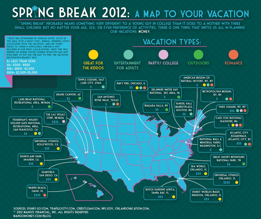 Example Map For Spring Break Destinations Party Ideas - Us map vacation spots