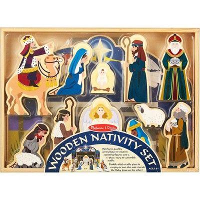 Melissa Doug Classic Wooden Christmas Nativity Set With 4
