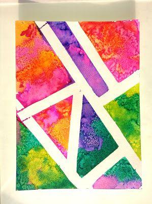 Art Science Collide Watercolor Salt Paintings Salt Painting Elementary Art Projects Painting Crafts