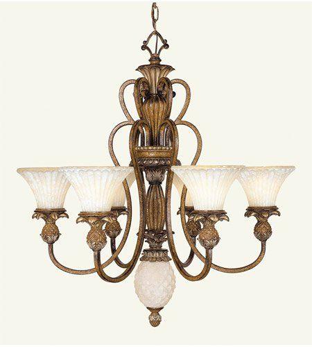 Livex Lighting 845657 Savannah 6 Light Venetian Patina Chandelier With Vintage Carved Scavo Gl