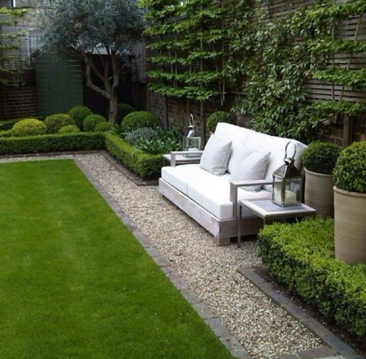 Front left fence - buxus hedge, sculptural mid planting) | 43 ...