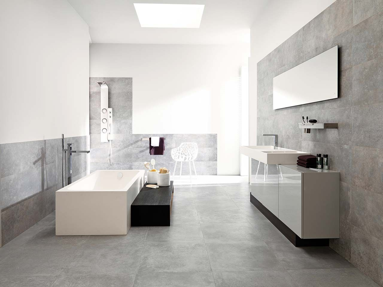 Simple modern bathroom with porcelanosa 39 s beautiful grey for Porcelanosa bathroom designs