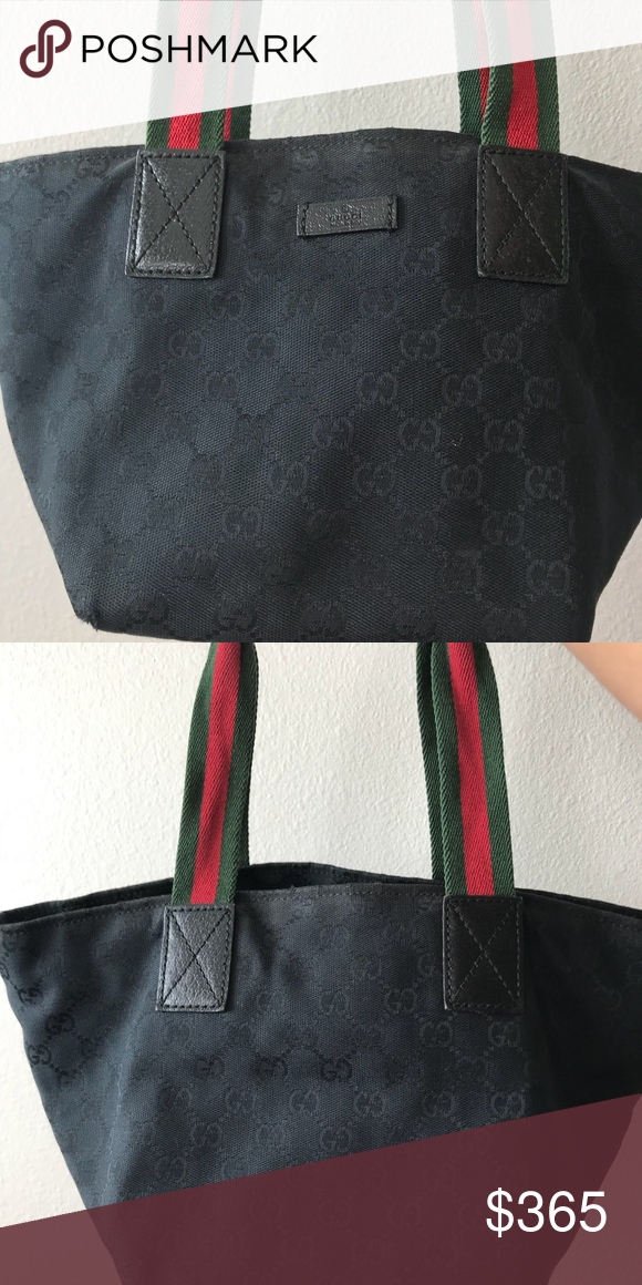 7428cdaae9 Canvas Gucci Bag Black Canvas Gucci Bag Bottom is leather in excellent  condition. Has a zipper on top. The edge on bottom are a little worn off  and the ...