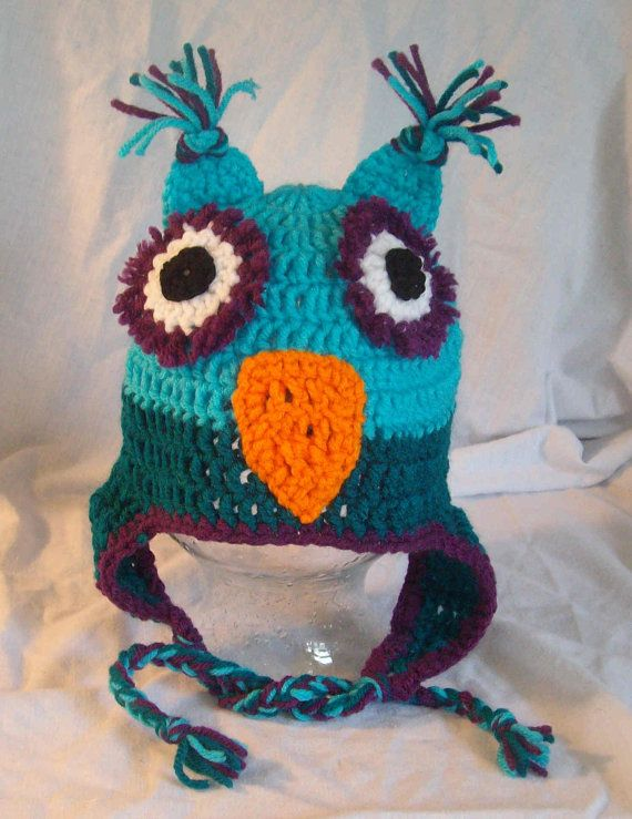 Hand crochet Owl hat all sizes and colors by MatsonDesignStudio